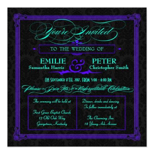 Electric Teal & Purple Green Poster Style Wedding Custom Invitations