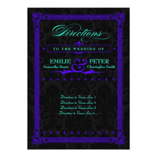 Electric Teal & Purple Poster Style Directions Announcements