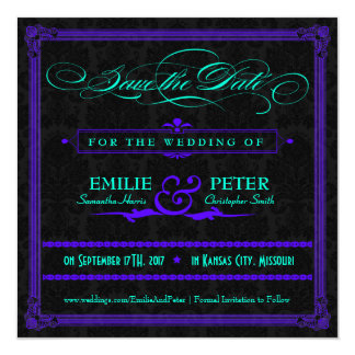 Electric Teal & Purple Poster Style Save the Date 13 Cm X 13 Cm Square Invitation Card