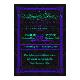 Electric Teal & Purple Poster Style Save the Date 5x7 Paper Invitation Card