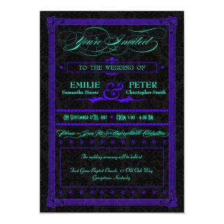 Electric Teal & Purple Poster Style Wedding 13 Cm X 18 Cm Invitation Card