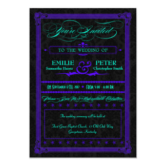 "Electric Teal & Purple Poster Style Wedding 5"" X 7"" Invitation Card"