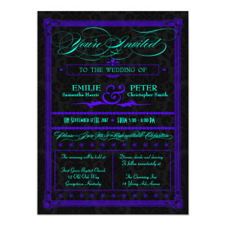 "Electric Teal & Purple Poster Style Wedding Invite 6.5"" X 8.75"" Invitation Card"