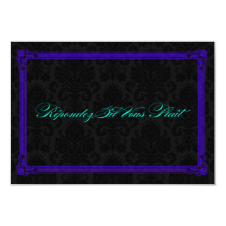 Electric Teal & Purple Poster Style Wedding RSVP 9 Cm X 13 Cm Invitation Card