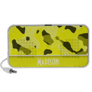 Electric Yellow Camo Personalized Notebook Speakers