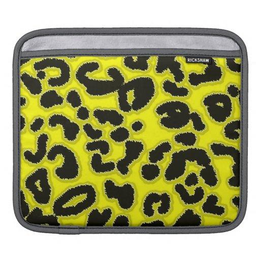 Electric Yellow Leopard Animal Print iPad Sleeves