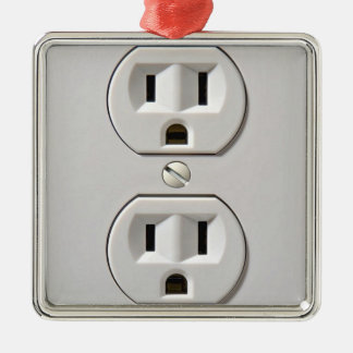 Electrical Outlet Plug in Silver-Colored Square Decoration