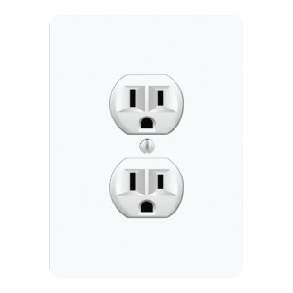 Electrical Plug Click to Customize Color Decor 5.5x7.5 Paper Invitation Card