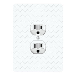Electrical Plug Wall Outlet Fun Customize This 5.5x7.5 Paper Invitation Card
