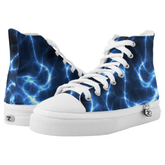Electrical Power Lightning Design Printed Shoes