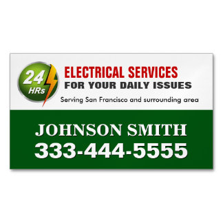 Electrical Power Service Electrician Fridge Magnet Magnetic Business Cards