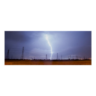 Electrical Storm Thunderstorm Lightning Galveston Poster