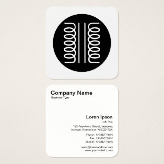 Electrical Transformer Symbol - Black and White Square Business Card