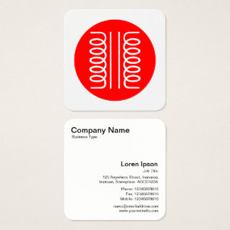 Electrical Transformer Symbol - Red and White Square Business Card