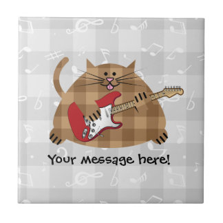 Electricat - Electric Guitar Kitty Musician Small Square Tile
