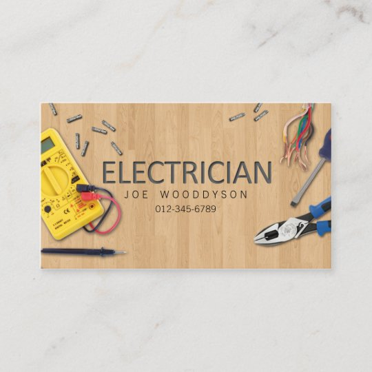 Electrician business card electrical tools zazzle electrician business card electrical tools reheart Image collections