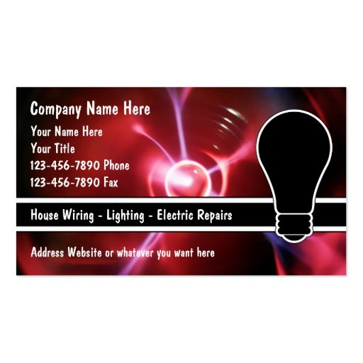 Electrician business cards zazzle for Electrician business cards ideas