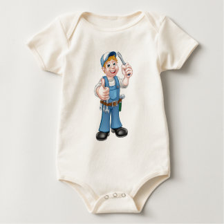 Electrician Handyman Cartoon Character Baby Bodysuit