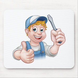 Electrician Handyman Cartoon Character Mouse Pad
