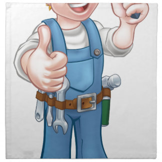 Electrician Handyman Cartoon Character Napkin