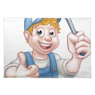 Electrician Handyman Cartoon Character Placemat