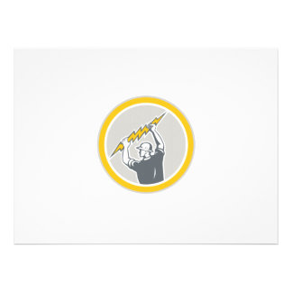 Electrician Holding Lightning Bolt Side Retro Personalised Invitations