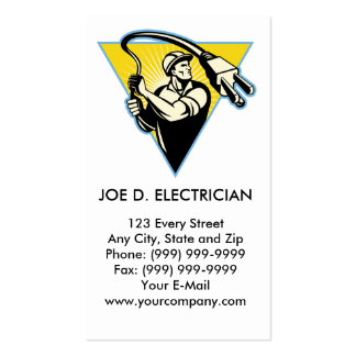 Electrician or power lineman holding lasso plug business card template