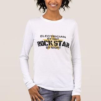 Electrician Rock Star by Night Long Sleeve T-Shirt