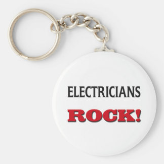 Electricians Rock Basic Round Button Key Ring