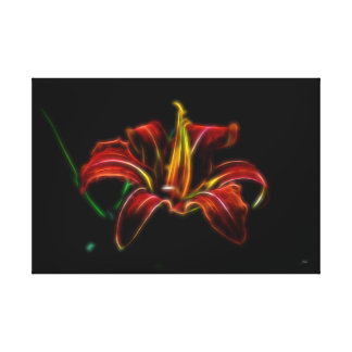 Electrified Orange Lily Canvas Wall Art