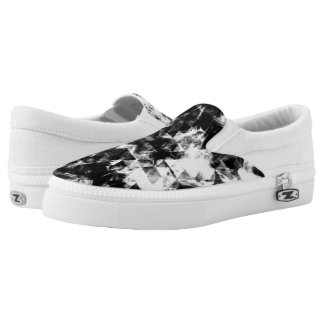 Electrifying black white sparkly triangle flames Slip-On shoes