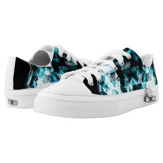 Electrifying blue sparkly triangle flames low tops