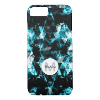 Electrifying blue sparkly triangle flames Monogram iPhone 8/7 Case