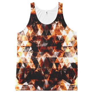 Electrifying orange sparkly triangle fire flames All-Over print singlet