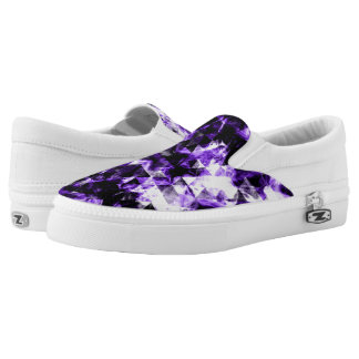 Electrifying ultra violet purple sparkly triangle slip on shoes