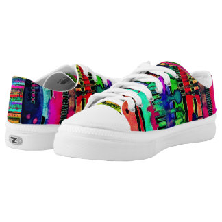 electro dripping wave lowtop lace ups printed shoes