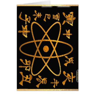 Electron Nucleas and Chinese Characters Greeting Card