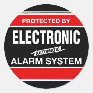Electronic Alarm System Round Sticker