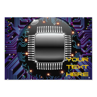 Electronic Motherboard Circuit Invitation Card