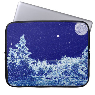 Electronics Bag- Winter s Night Blue Computer Sleeve