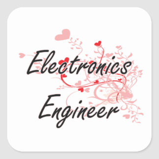Electronics Engineer Artistic Job Design with Hear Square Sticker
