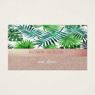 Elegan Modern Glittery Bokeh Pink,Palm Leaves Business Card