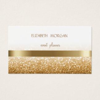 Elegan Modern Simple Glittery Bokeh ,Gold Stripes Business Card