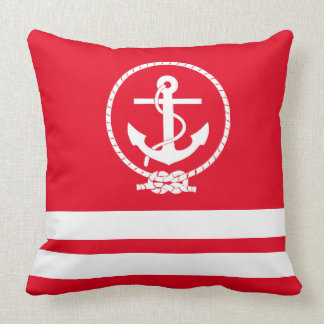 Elegan Nautical Anchor and Stripes Pattern Cushion