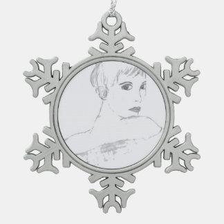 elegance black and white pewter snowflake decoration