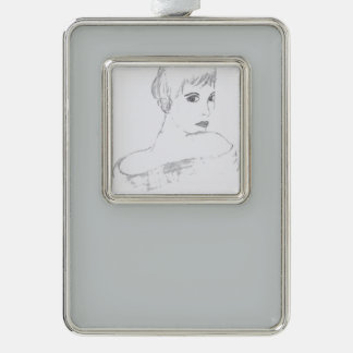 elegance black and white silver plated framed ornament