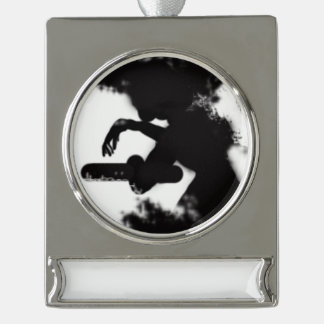 elegance black and white silver plated banner ornament