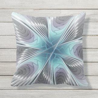 Elegance, Modern Blue Gray White Fractal Flower Throw Pillow