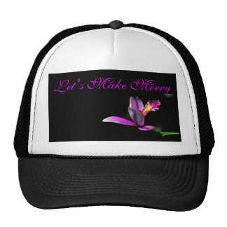 Elegance of Orchid Floral Make Merry Xmas Design Cap