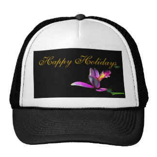 Elegance of Orchid Floral Xmas Holiday Design Cap